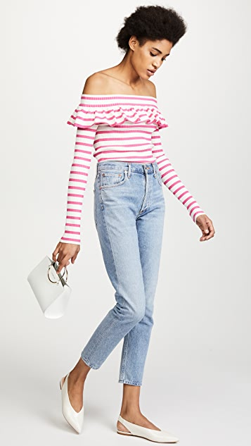 Fuzzi Striped Off Shoulder Top