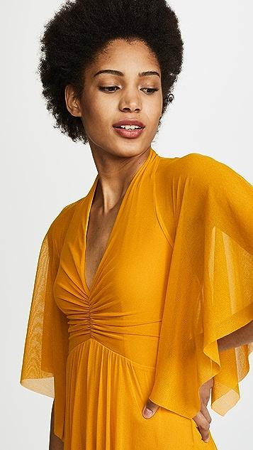 Fuzzi V Neck Flutter Sleeve Dress