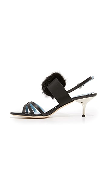 Frances Valentine Lisette Fur Sandals