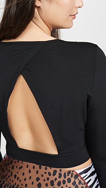 Good American Active Long Sleeve Open Back Top