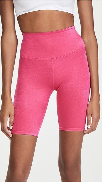 Good American Active Shiny Rib Bike Shorts