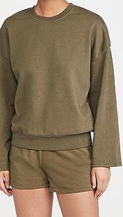 Good American Essentials Drop Shoulder Long Sleeve Crew Sweatshirt