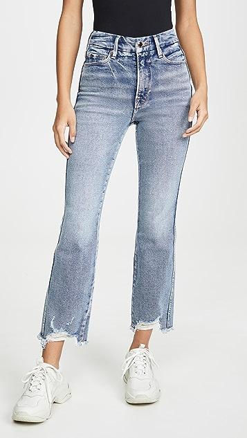 Good American Good Curve Straight Frey Hem Jeans