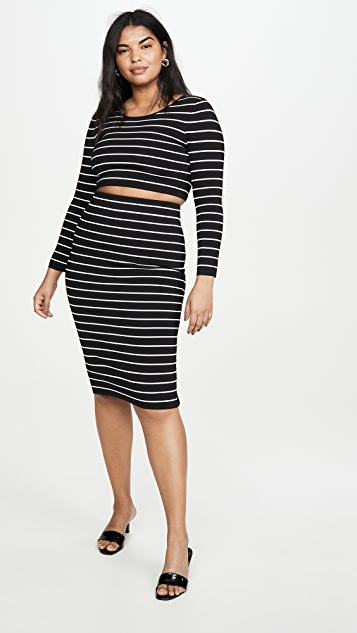 Good American Stripe Crop Top