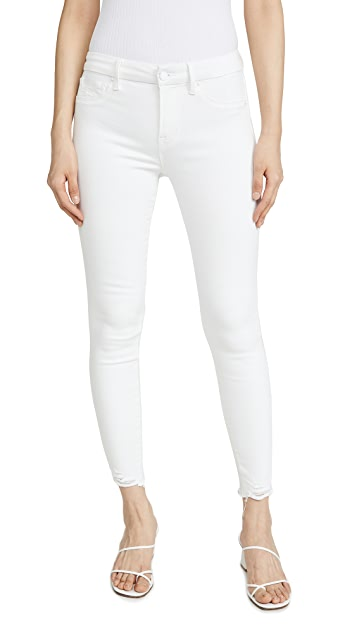Good American Good Legs Skinny Jeans With Chewed Hem