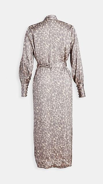 Good American Honey Leopard Robe Dress