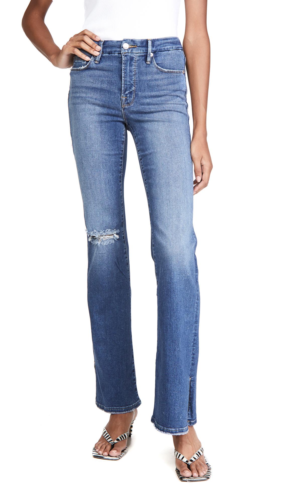 Good American Good Flare With Split Hem Jeans