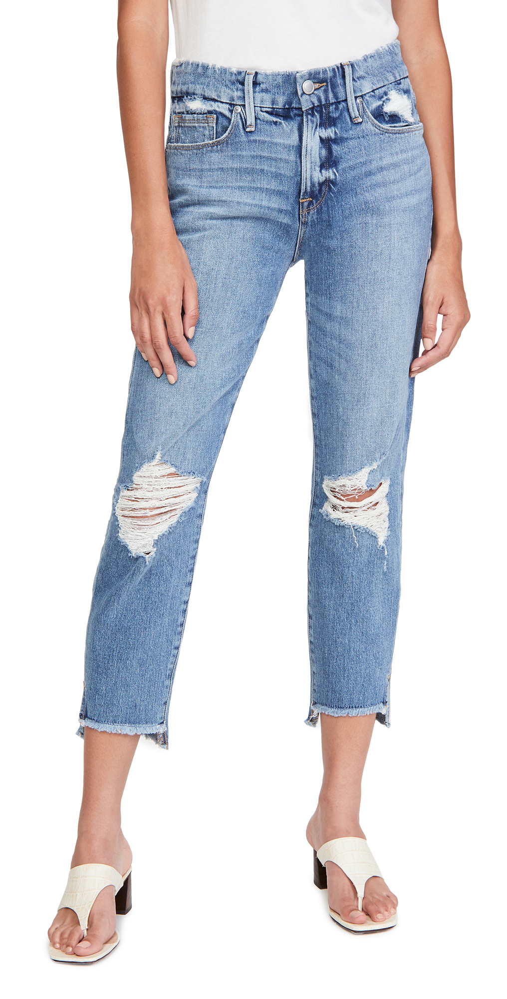 Good American Good Girlfriend Jeans with Side Step Hem