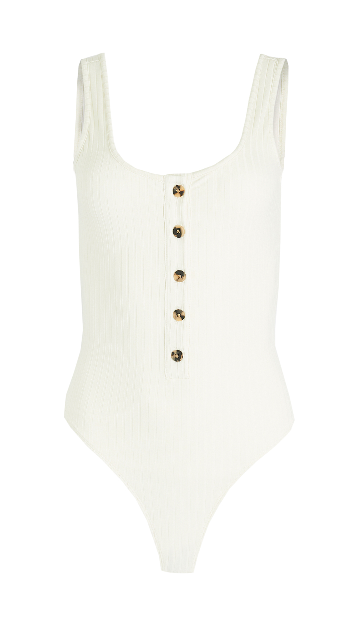 Good American Button Front Jacquard Thong Bodysuit