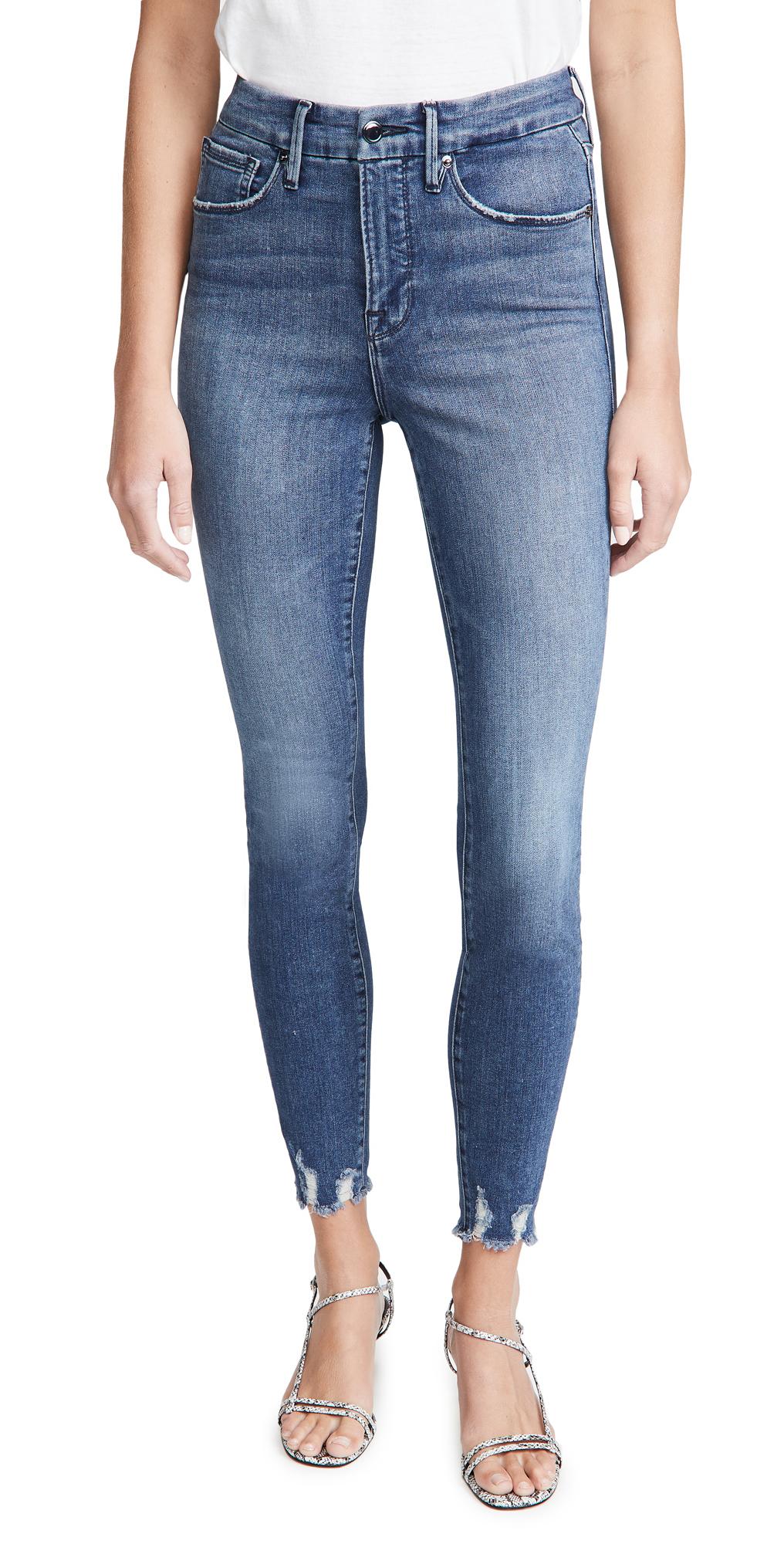 Good American Good Waist With Chewed Hem Jeans