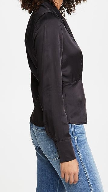 Good American Wrap Tux Shirt