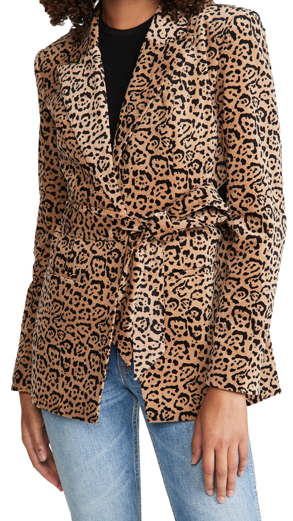 Good American Velvet Leopard Blazer