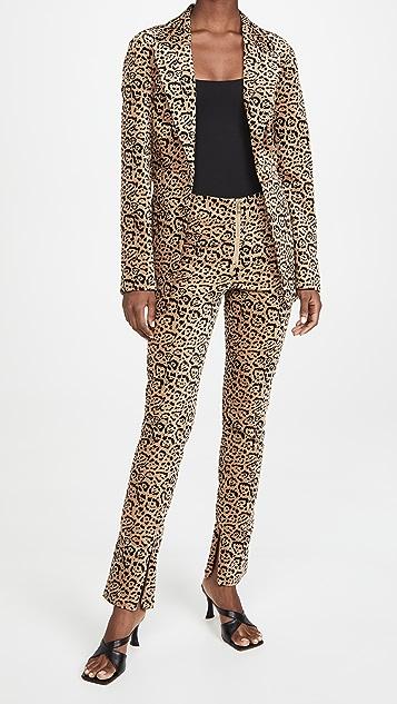 Good American Velvet Leopard Suit Pants