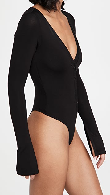 Good American Deep V Henley Thong Bodysuit