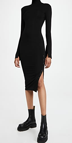 Good American - Rib Mock Neck Midi Dress