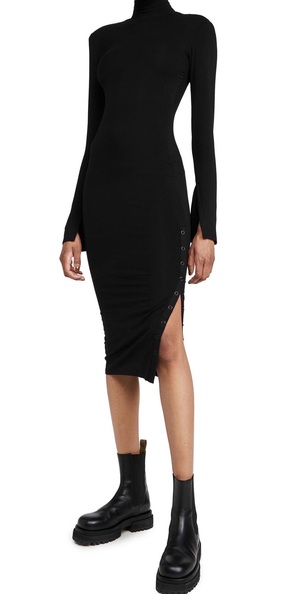 Good American Rib Mock Neck Midi Dress