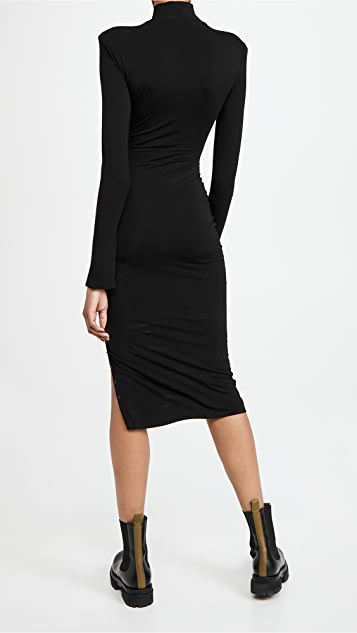 Good American Rib Mock Neck Midi Dress