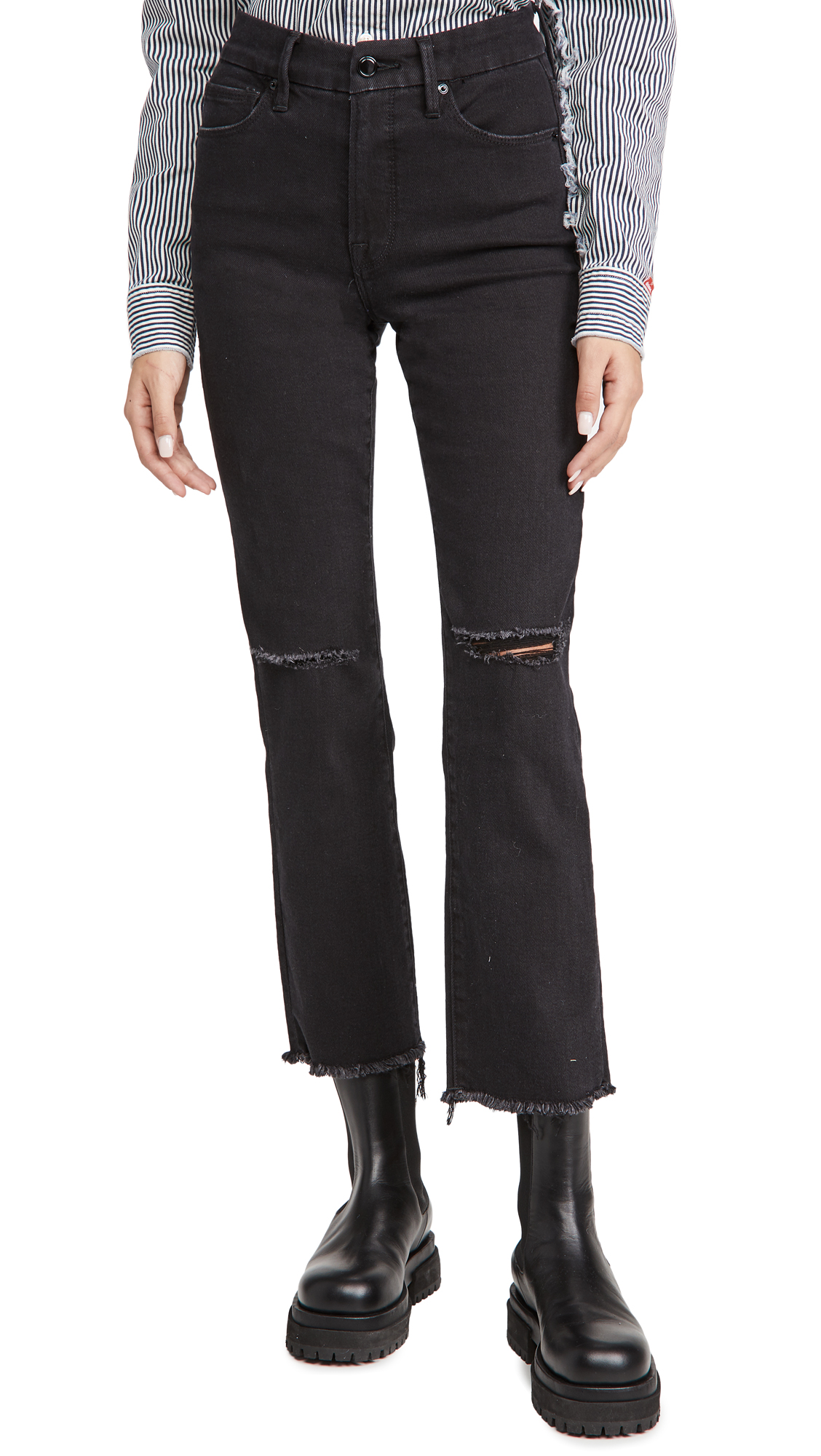 Good American Good Straight Fray Hem Jeans