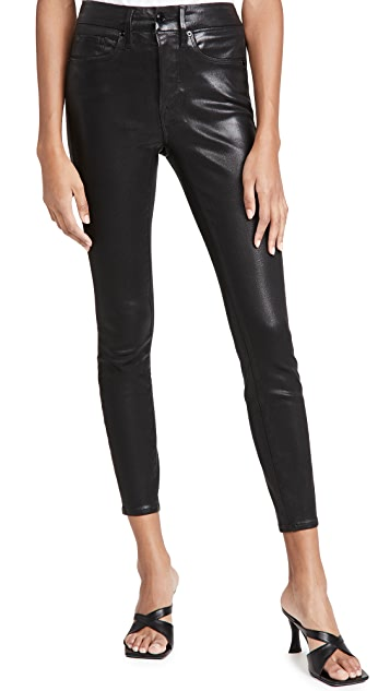 Good American Good Legs Leather Like Coated Jeans