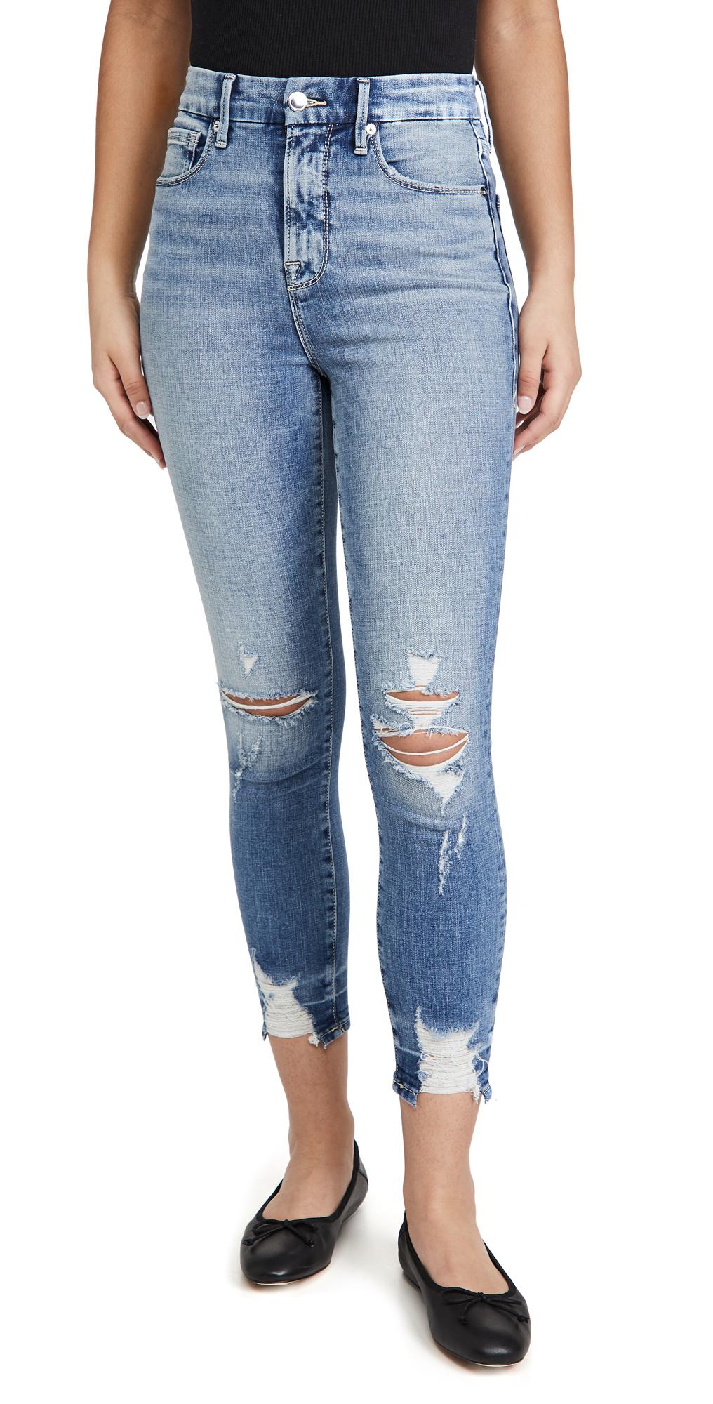 Good American Good Waist Crop Chew Hem Jeans