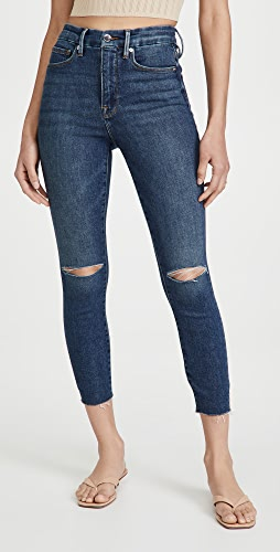 Good American - Good Waist Crop Raw Edge Jeans