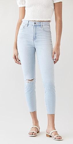 Good American - Good Waist Crop Raw Edge Jeans