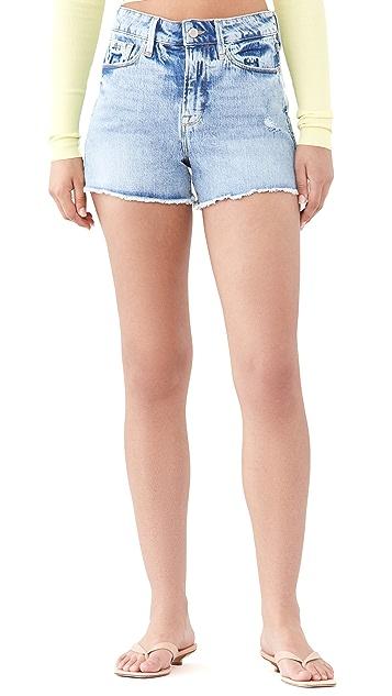 Good American The Cutoff Long Fray Hem Shorts