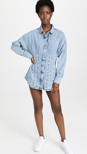 Good American Seamed Shirtdress