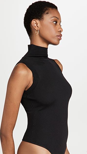 Good American Mock Neck Sweater Thong Bodysuit