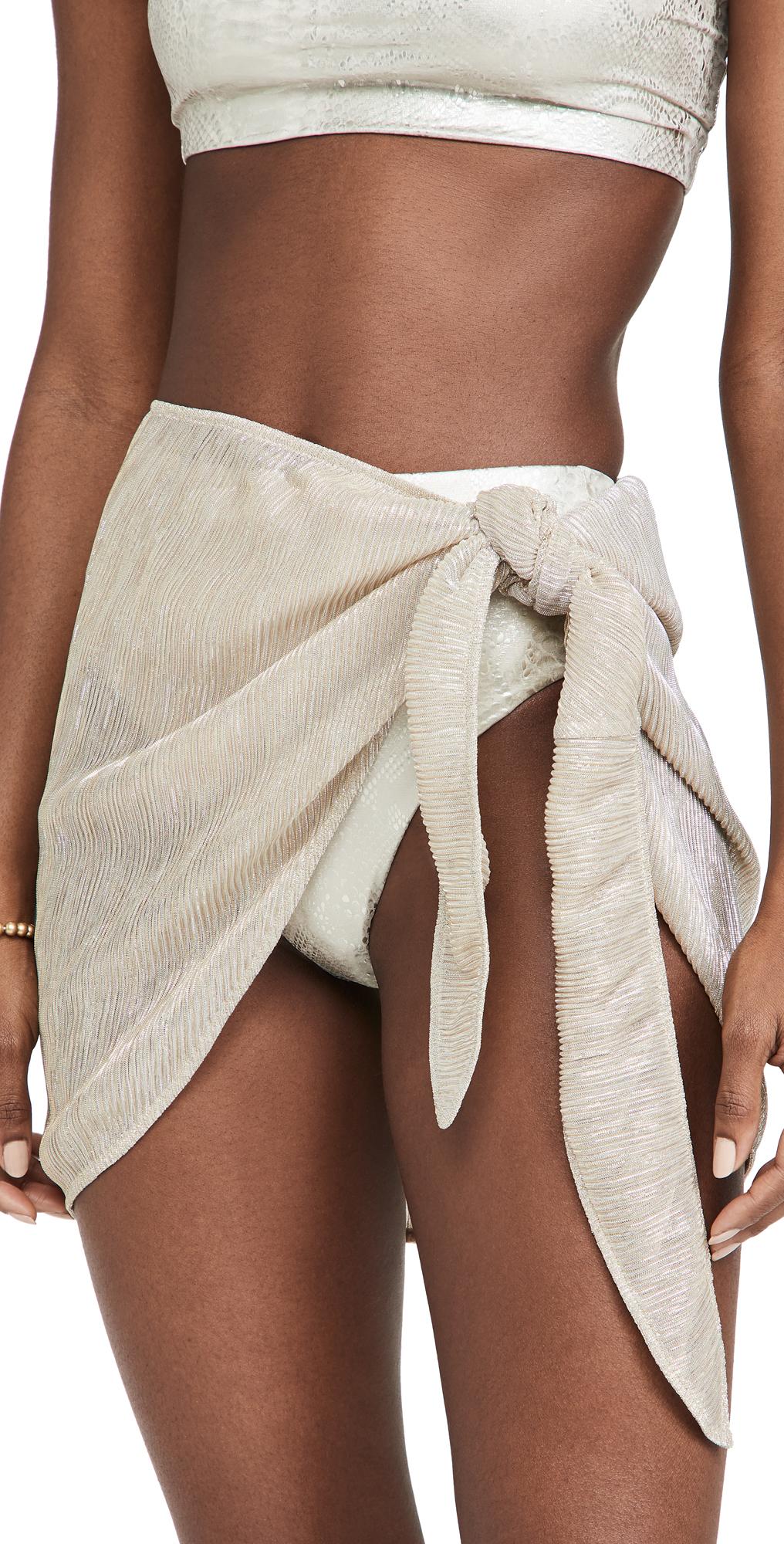 Good American Metallic Sarong Skirt