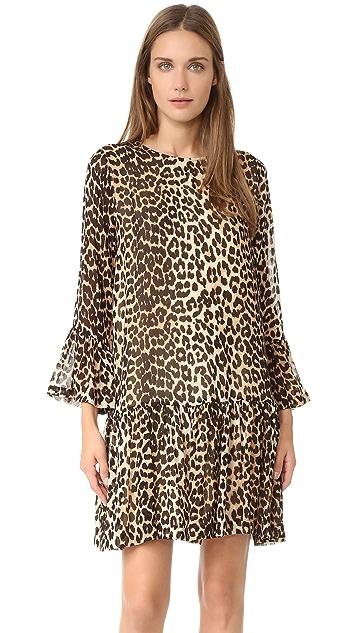 leopard kjole fra ganni