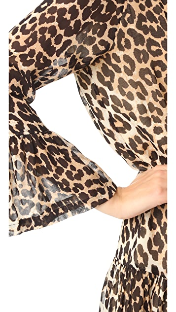 Ganni Leopard Flounce Dress