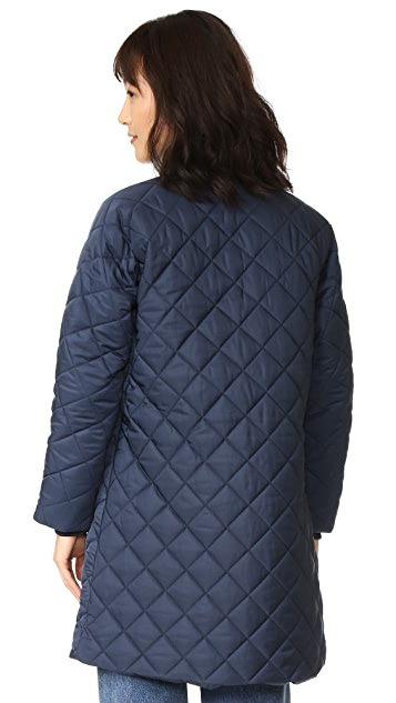 Ganni Greenwood Quilted Coat