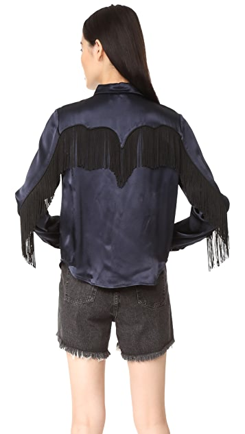 Ganni Donnelly Satin Fringe Shirt
