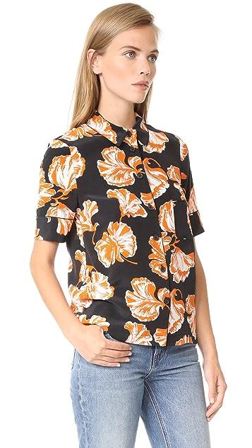 Ganni Geroux Silk Camper Shirt
