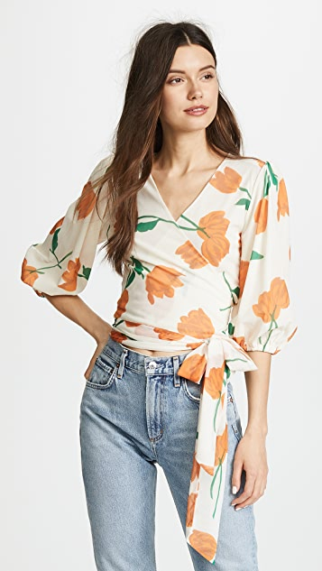 100% Guaranteed Sale Online Ganni floral wrap blouse Cost 0L3aSmv