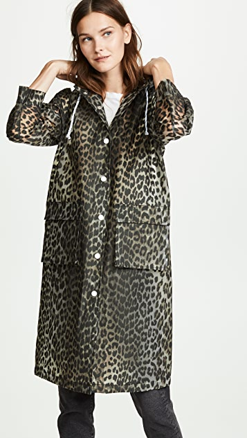 Ganni Cherry Blossom Leopard Trench Coat