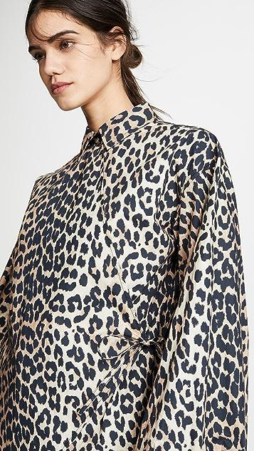 GANNI Блуза из хлопковой ткани в рубчик с принтом