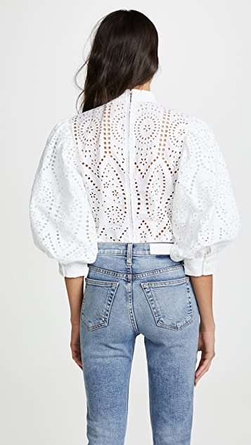 GANNI Блуза Anglaise с вышивкой