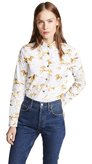 GANNI Printed Poplin Button Down