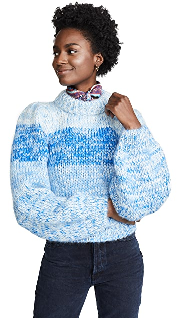 GANNI Hand Knit Wool & Mohair Sweater
