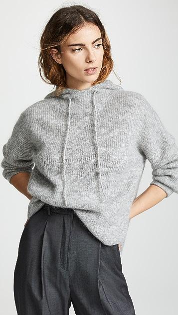 GANNI Soft Wool Knit Hoodie