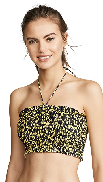 GANNI Printed Bikini Top