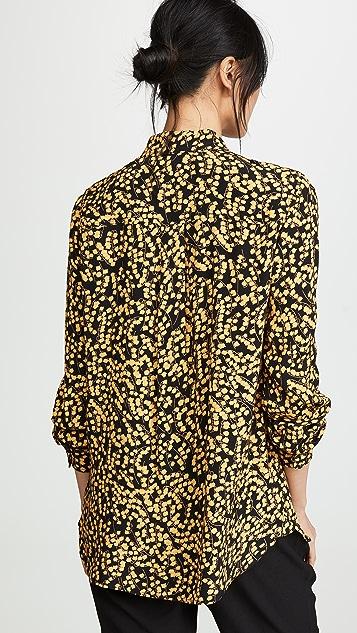 GANNI Рубашка на пуговицах из крепа с принтом