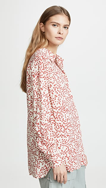GANNI Printed Crepe Button Down