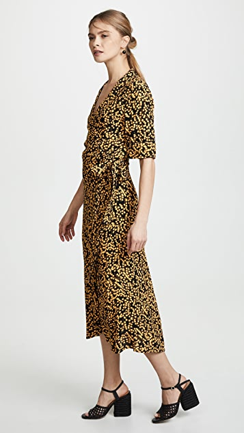 GANNI Printed Crepe Dress