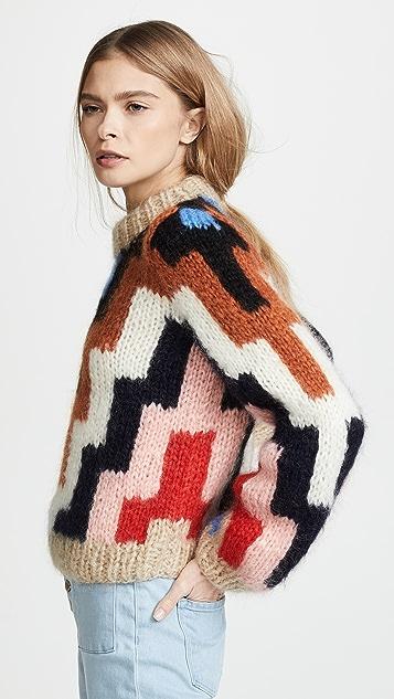 GANNI Hand Knit Wool Mohair Sweater