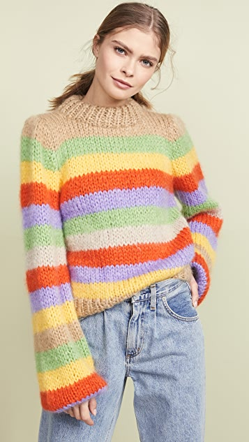 GANNI Hand Knit Wool Mohair Sweater
