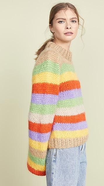 GANNI Связанный вручную свитер из шерсти и мохера