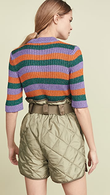 GANNI Striped Knit Top